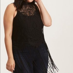 Black Lace Fringe Mock Neck Top